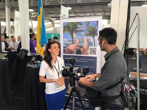 Marina Shumaieva giving interview on Techcrunch Disrupt